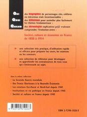 Societe Culture Et Economie En France De 1850 A 1914 - 4ème de couverture - Format classique