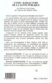 L'Oms : Bateau Ivre De La Sante Publique - 4ème de couverture - Format classique