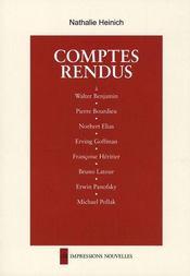 Comptes rendus ; à Benjamin, Bourdieu, Elias, Goffman, Héritier, Latour, Panofsky, Pollak, Zilsel - Intérieur - Format classique