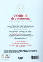 L'officiel des prénoms (édition 2021) - 4ème de couverture - Format classique