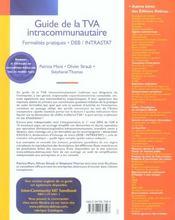 Guide de la tva intracommunautaire. formalites pratiques, deb / intrastat - 1ere ed. (1re édition) - 4ème de couverture - Format classique