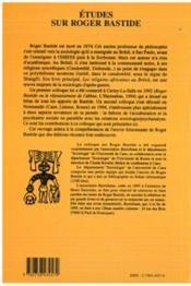Etudes Sur Roger Bastide - 4ème de couverture - Format classique