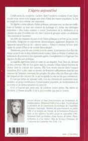 L'Algerie Aujourd'Hui Ou L'Absence D'Alternatives A L'Islam Politique - 4ème de couverture - Format classique