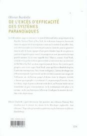 De l'excès d'efficacite des systèmes paranoïaques - 4ème de couverture - Format classique