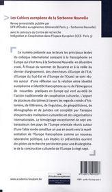 Nouveaux visages de la francophonie en Europe - 4ème de couverture - Format classique