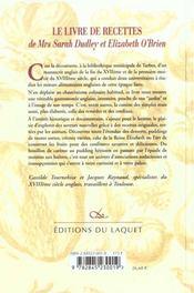 Le Livre De Recettes De Mrs Sarah Dudley Et Elizabeth O'Brien - 4ème de couverture - Format classique