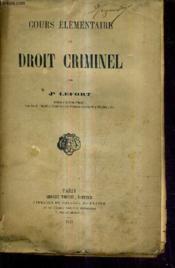 Cours Elementaire De Droit Criminel. - Couverture - Format classique