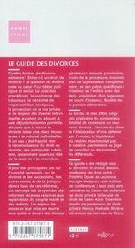 Le guide des divorces (2e édition) - 4ème de couverture - Format classique
