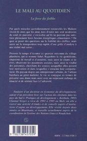 Le Mali Au Quotidien, La Force Des Faibles - 4ème de couverture - Format classique