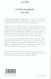 La franc-maconnerie et le sacre - 4ème de couverture - Format classique