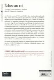 Échec au roi ; irrespect, contestations et révoltes dans la France des Lumières - 4ème de couverture - Format classique