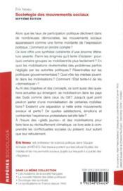 Sociologie des mouvements sociaux (7e édition) - 4ème de couverture - Format classique