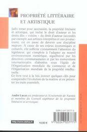 Propriete litteraire et artistique - 4ème de couverture - Format classique