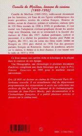 Camille De Morlhon, Homme De Cinema - 4ème de couverture - Format classique
