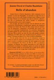 Jeanne Duval Et Charles Baudelaire Belle D'Abandon - 4ème de couverture - Format classique