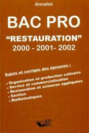 Annales Bac Pro Restauration 2000-2001-2002 - Couverture - Format classique