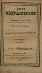 Revue britannique ou choix d'articles, traduits des meilleurs écrits périodiques de la grande bretagne IVe année, n°42 décembre 1828 - Couverture - Format classique