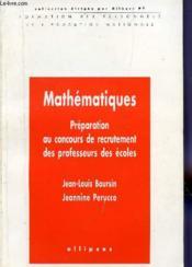 Maths Preparation Concours Recrutement Prof Des Ecoles - Couverture - Format classique
