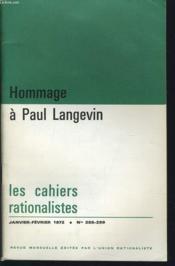 LES CAHIERS RATIONALISTES n°288-289 : Hommage à Paul Langevin - Couverture - Format classique