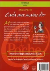 Carla aux mains d'or - 4ème de couverture - Format classique