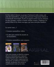 Règne Animal - Mammifères - 4ème de couverture - Format classique