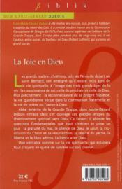La joie en Dieu ; les trois âges de la vie spirituelle - 4ème de couverture - Format classique