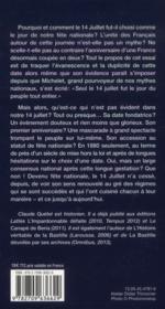 Le mythe du 14 juillet ou la méprise de la Bastille - 4ème de couverture - Format classique