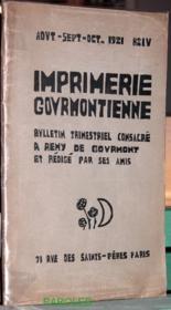 Imprimerie gourmontienne - Bulletin trimestriel consacré à Remy de Gourmont et rédigé par ses amis - N°4. - Couverture - Format classique