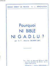 Pourquoi Ni Bible Ni Gadlu? - Couverture - Format classique
