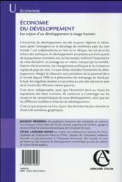Économie du développement ; les enjeux d'un développement à visage humain (4e édition) - 4ème de couverture - Format classique