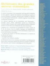 Dictionnaire des grandes oeuvres économiques - 4ème de couverture - Format classique