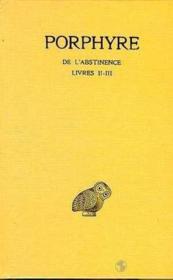 De l'abstinence t.2 ; livre 2-3 - Couverture - Format classique