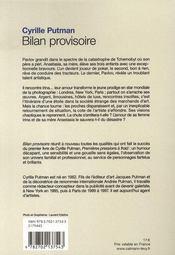 Bilan provisoire - 4ème de couverture - Format classique