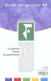 La Gestion Fiscale Du Patrimoine 2004 - 4ème de couverture - Format classique