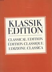Edition Classique - Klassik Edition - Classical Edition - Edizione Classica - Couverture - Format classique