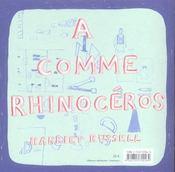 A comme rhinoceros - 4ème de couverture - Format classique