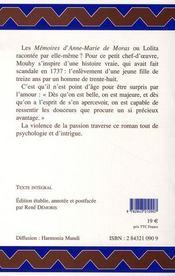 Mémoires d'anne-marie de moras - 4ème de couverture - Format classique