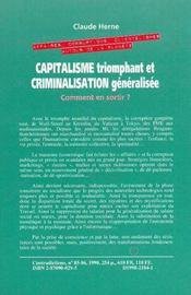 Capitalisme Triomphant Et Criminalisation Generalisee : Comment En Sortir - 4ème de couverture - Format classique