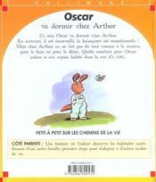 Oscar va dormir chez arthur - 4ème de couverture - Format classique