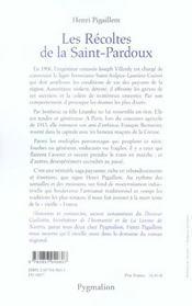 Les recoltes de la saint pardoux - 4ème de couverture - Format classique