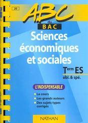 Sciences Economiques Terminale Es. L'Indispensable - Intérieur - Format classique