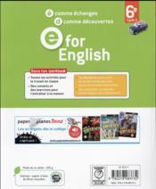 E For English ; Anglais ; 6ème ; Worbook - 4ème de couverture - Format classique