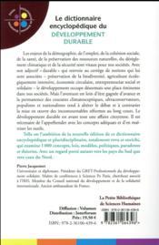 Le dictionnaire encyclopédique du développement durable - 4ème de couverture - Format classique
