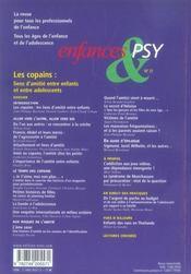 Enfances Et Psy N.31 ; Les Copains : Liens D'Amitié Entre Enfants Et Entre Adolescents - 4ème de couverture - Format classique