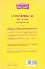 La mondialisation en fiches - 4ème de couverture - Format classique
