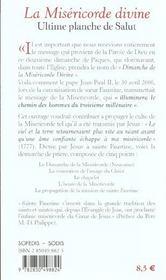 La Misericorde Divine ; L'Ultime Planche De Salut - 4ème de couverture - Format classique