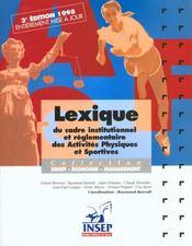 Lexique du cadre institutionnel des a.p.s - Intérieur - Format classique