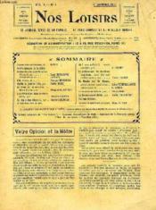 Nos Loisirs, Vol. X., Jan.-Juin 1911 (Recueil), Le Journal-Revue De La Famille, Le Plus Complet Et Le Meilleur Marche - Couverture - Format classique