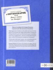 Petit cahier d'orthographe - 4ème de couverture - Format classique