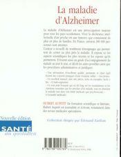 Maladie D'Alzheimer (N-E) - 4ème de couverture - Format classique